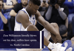 Zion Williamson literally blows out his shoe, suffers knee sprain vs